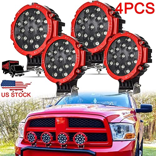 """high quality 4Pcs 51W LED Work Light 7"""" Offroad Pod Lights Bar with Mounting popular Bracket Spot Beam Bumper Driving wholesale Lamp Headlight Fog Light for 12V 24V Off-road Truck Car ATV SUV Jeep Construction Camping Hunters outlet online sale"""