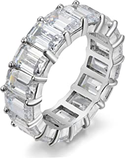 Women's .925 Sterling Silver 4x6mm Emerald Cut Eternity Ring