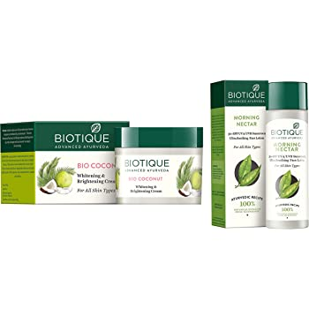 Biotique Bio Coconut Whitening And Brightening Cream, 50g And Biotique Bio Morning Nectar Sunscreen Ultra Soothing Face Lotion, SPF 30+, 120ml