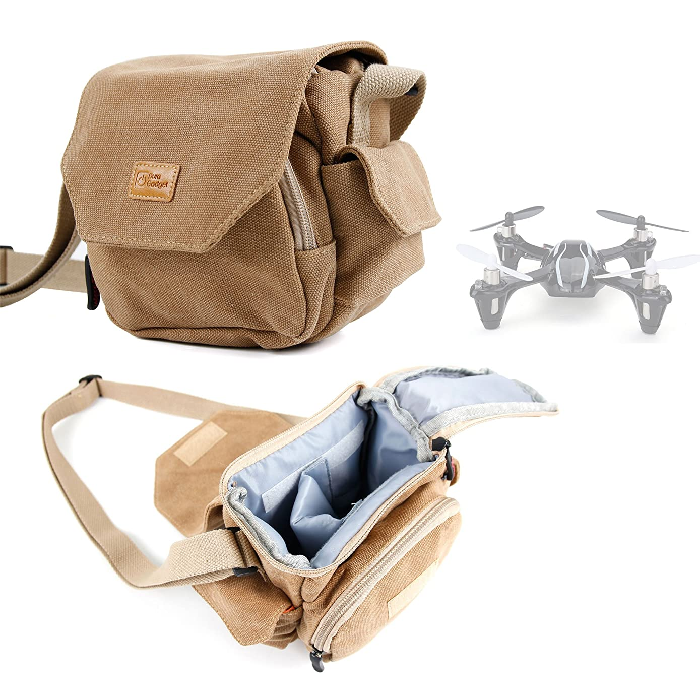 DURAGADGET Light Brown Medium Sized Canvas Carry Bag - Suitable for Hubsan X4 (H107L) / Hubsan X4 (H107C) / Hubsan Drone (H107B) - with Multiple Pockets & Customizable Interior Compartment