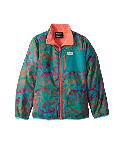 Burton Kids Snooktwo Reversible Fleece Jacket (Little Kids/Big Kids) (Green/Blue Morse Geo/Georgia Peach) Girl