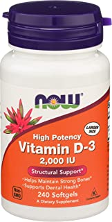 NOW Supplements, Vitamin D-3 2,000 IU, High Potency, Structural Support*, 240 Softgels