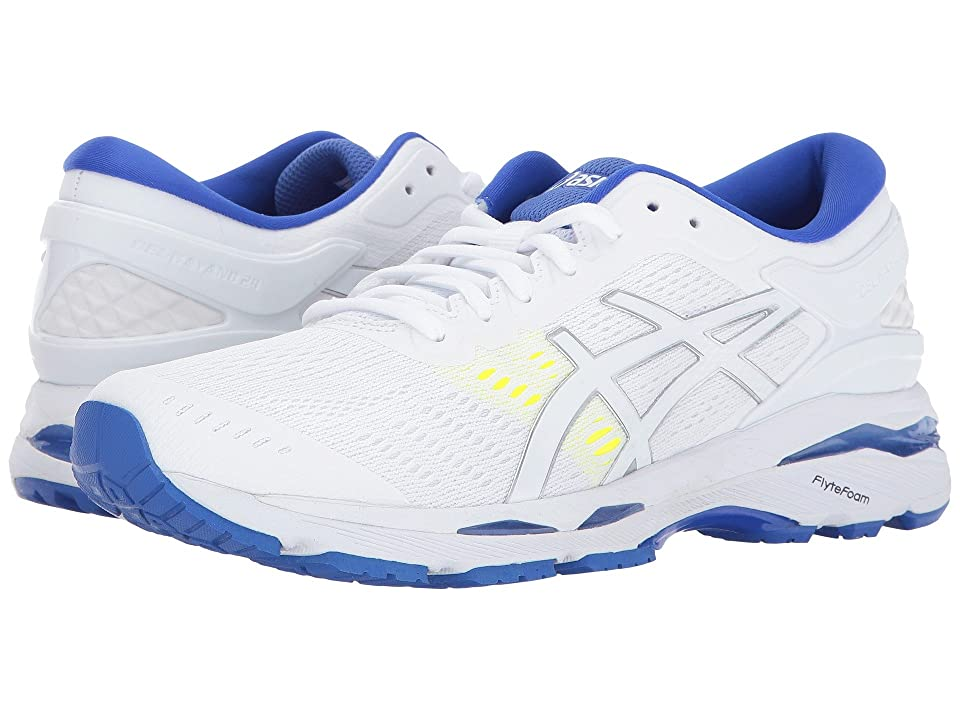 ASICS GEL-Kayano(r) 24 (White/Blue/Purple/Safety Yellow) Women