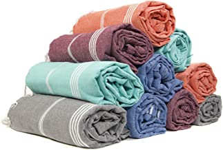 Gute (Set of 6) XXL Turkish Cotton Bath Beach Hammam Turkish Towel Sets Peshtemal Throw Fouta Blanket Set, Luxuries Towels