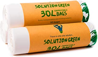 Solution Green 30L Bolsas de Basura Biodegradables y Compostables 6L   30L Para Basura Alimentos De La Cocina, 30 Bolsas(30 Litros)