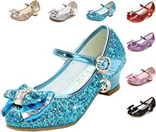 Cadidi Dinos Girls Dress Shoes Wedding Party Heel Mary Jane Princess Flower Shoes (Toddler/Little Kid/Big Kid) Blue Size: 1.5 Little Kid