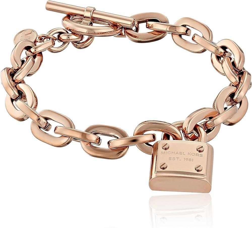 Michael kors tone toggle link bracelet,braccialetto unisex in acciaio inossidabile MKJ3313791