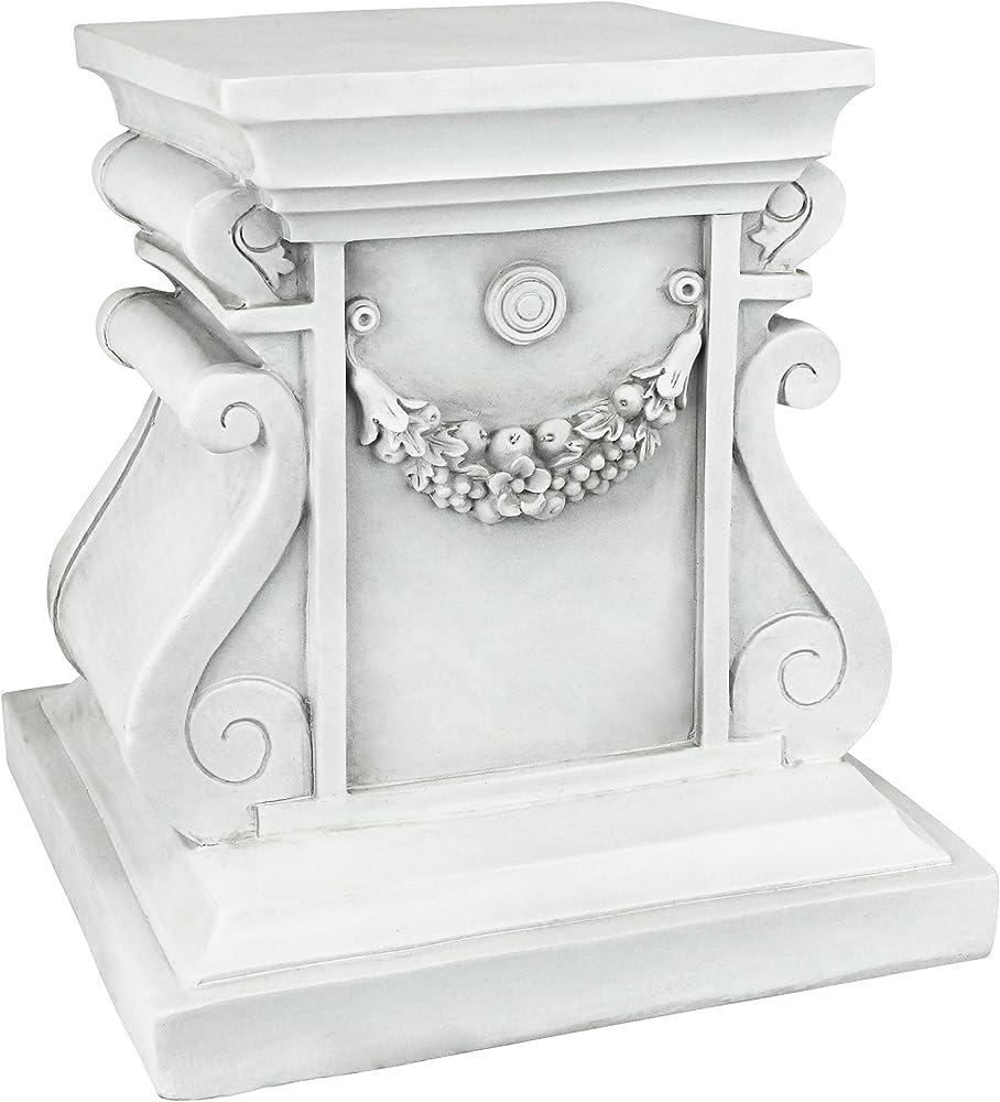Design toscano, piedistallo da giardino, base per rialzo, in poliresina , 29 x 29 x 30,5 cm NG314105