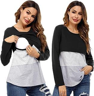 Akalnny Camisa de Lactancia Mujer Manga Larga Ropa de Premamá Algodón Transpirable Suave Camiseta de Embarazada Cómodo