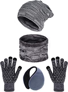 Tatuo 4 Pieces Ski Warm Set Includes Fleece Lined Hat Beanie Circle Scarf Winter Ear Warmer and Gloves for Adults Kids