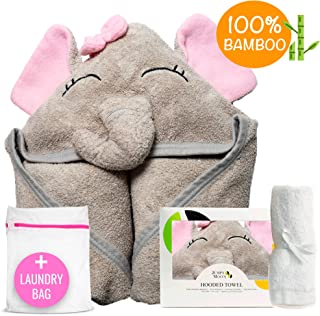 Organic Hooded Baby Towel Set (includes Washcloth & Laundry Bag) | 100% Bamboo, Highly Absorbent, & Natural UV Protectant | Bonus Bamboo Washcloth | 500 GSM (35x35 inch) (Pink Elephant)