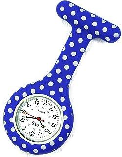 JAS Unisex Nurses Lapel Watch Silicone (Infection Control) Polka Dot - Navy Blue