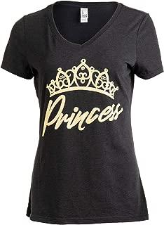 Princess | Cute, Funny Girly Royalty Tiara Crown Humor V-Neck T-Shirt for Women
