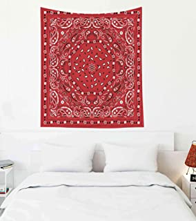 Pamime Easter Home Decor Tapestry for Red Bandana Print Wall Hanging Tapestries for Dorm Room Bedroom Living Room 50x60 Inches(130x150cm) Bedspread InHouse