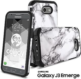 Galaxy J3 Emerge Case, Galaxy J3 2017 Case, Celljoy [Liquid Armor] Samsung J327P Slim Fit [Dual Layer Series] TPU Protective Hybrid [[Shockproof]] - Thin Hard Cover (White Marble Design)