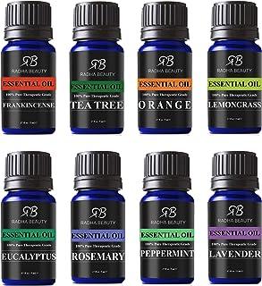 Radha Beauty Aromatherapy Top 8 Essential Oils 100% Pure & Therapeutic Grade - Basic Sampler Gift Set & Kit (Lavender, Tea...