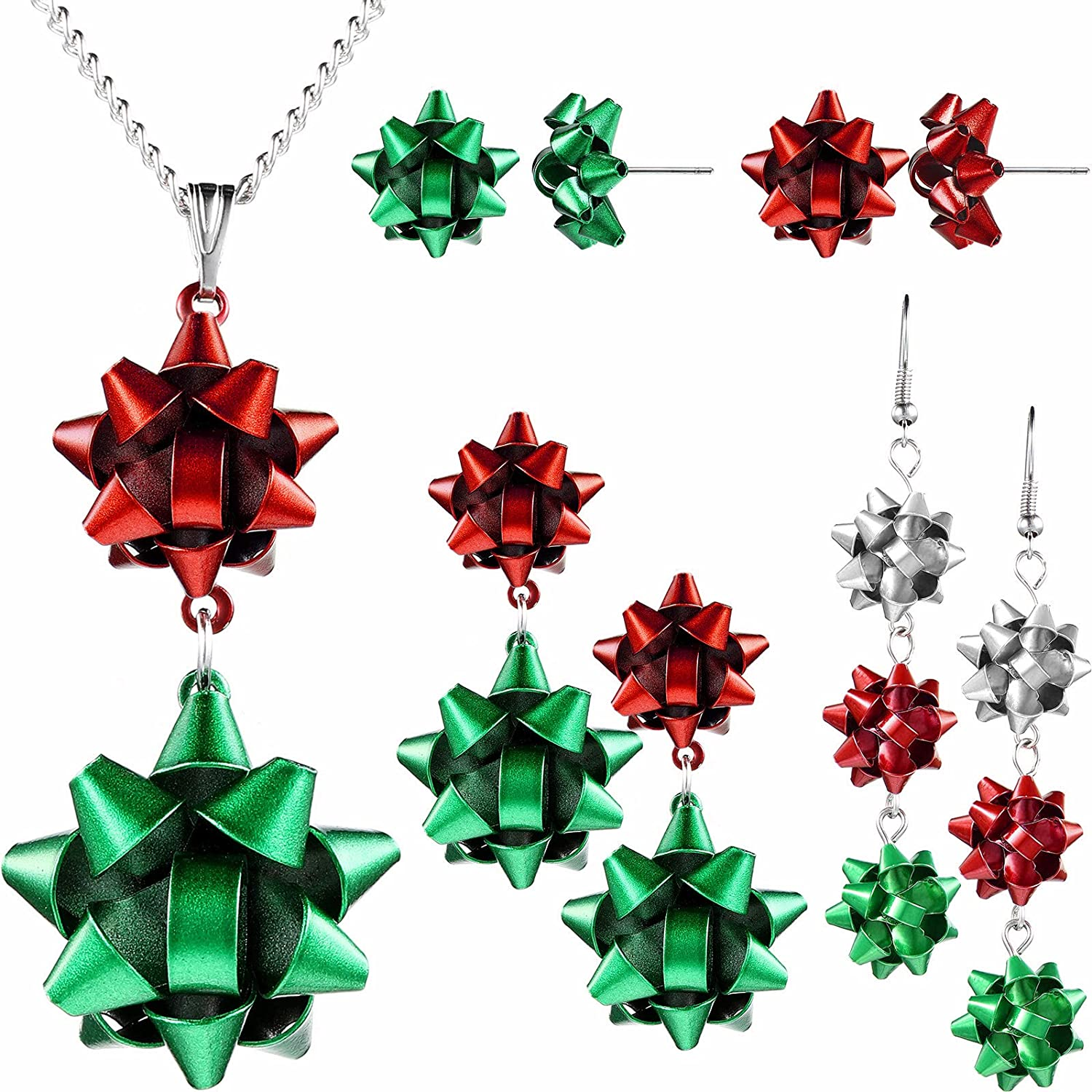 Christmas Jewelry Set, Christmas Bow Pendant Necklaces Layer Chain Necklace and 4 Pairs Christmas Bow Earrings for Women Girls