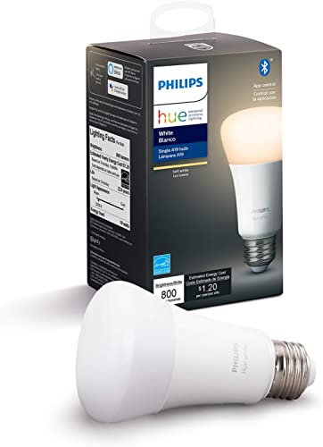 Philips Hue White A19 LED Smart Bulb, Bluetooth & Zigbee Compatible (Hue Hub Optional), Works with Alexa & Google Ass...