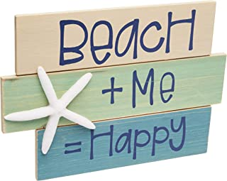 Tumbler Home | Coastal Beach House Decor- | Beach + Me = Happy | Wooden Sign with Starfish