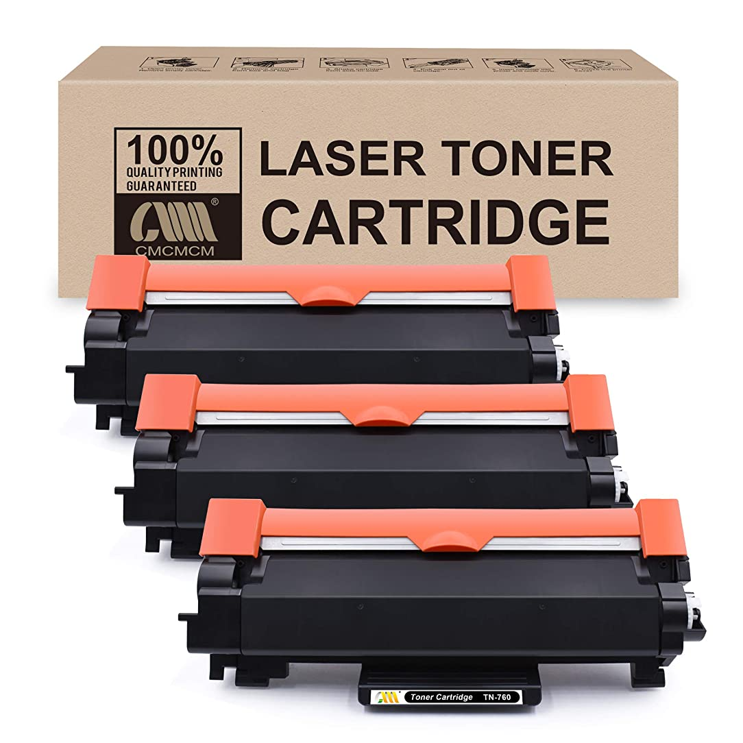 CMCMCM 3PK Compatible Toner Cartridge Replacement for Brother TN760 TN730 Work for Brother DCP-L2550DW MFC-L2710DW HL-L2390DW MFC-L2750DW HL-L2370DWXL HL-L2370DW MFC-L2750DWXL Printer [with CHIP]