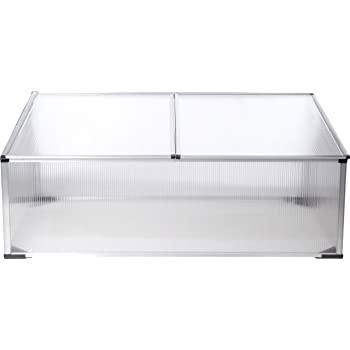 30 cm Greenhouse Cold Frame Tomato House Greenhouse Mojawo XXL 1,21m/² Aluminium Cold Frame with Double Roof 120 x 100 x 40