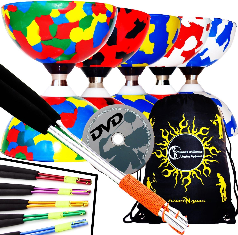 Juggle Dream Jester Diabolo con Rodamiente de Bolas Pro Conjunto + Palos de Aluminio, Cuerda, Trucos de Diabolo DVD + Diabolos Bolsa de Viajo (Rojo/Blanco + Palos Rojos)