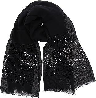 d6c786bc97df9 FASHIONGEN - Echarpe femme douce imitation coton, strass et étoile, NUARA