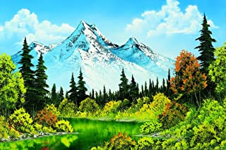 Bob Ross Meadow Lake Canvas Art Print Painting Cool Wall Decor Art Print Poster 12x18