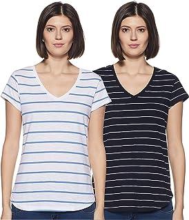 Amazon Brand - Symbol Women's Solid Regular Fit Half Sleeve Cotton T-Shirt (Combo Pack of 2)