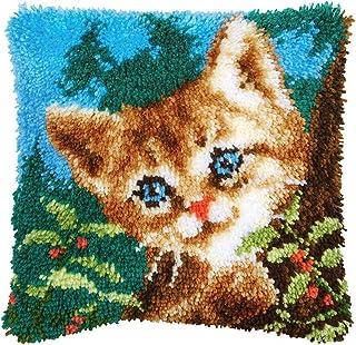 Kit de Crochet à Loquet pour Faire Soi Même, 43cm Taie D'oreiller Housse de Coussin, Kit de Broderie Tricot pour Adultes E...