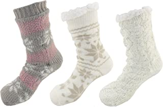 Extra Thick Cozy Fuzzy Thermal Cabin Plush Fleece-lined Fur Cuff Knitted Crew Socks
