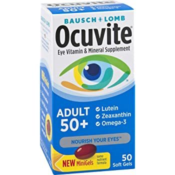 Amazon Com Bausch Lomb Ocuvite Adult 50 Vitamin Mineral Supplement With Lutein Zeaxanthin And Omega 3 Soft Gels 90 Count Health Personal Care