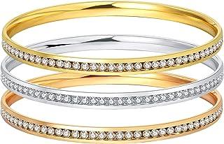 Allenn Danmi Jewelry18 K oro rosa/oro blanco chapado en oro circonita cúbica minimalista Slip on brazalete brillante regal...