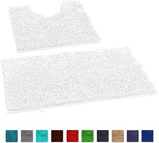 LuxUrux Bathroom Rugs Luxury Chenille 2-Piece Bath Mat Set, Soft Plush Anti-Slip Shower Rug +Toilet Mat.1'' Microfiber Shaggy Carpet, Super Absorbent Machine Washable Bath Mats (Curved Set, White)