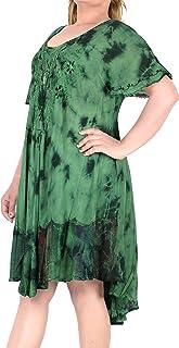 LA LEELA Rayon Tunika Damen Hand tie dye Strand Maxi Sundress