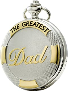 SEWOR Quartz Pocket Watch with Chain, Shell Dial Gold & Sliver Case Family Xmas, for Dad&Grandpa