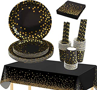 Topways Black Gold Party Supplies Set, Party Tableware Included Gold Dots Tablecloth Paper Party Plates Cups Straws Napkin...