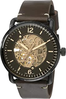 Men's The Commuter Auto Stainless Steel Mechanical-Hand-Wind Leather Strap, Brown, 22 Casual Watch (Model: ME3158)
