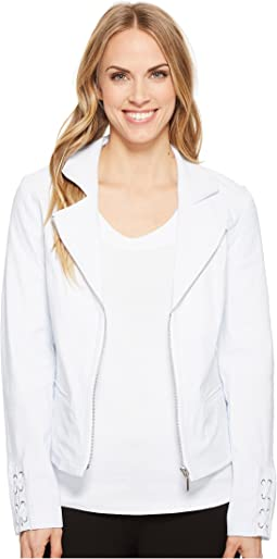 Stretch Bengaline Long Sleeve Jacket with Lace-Up Detail