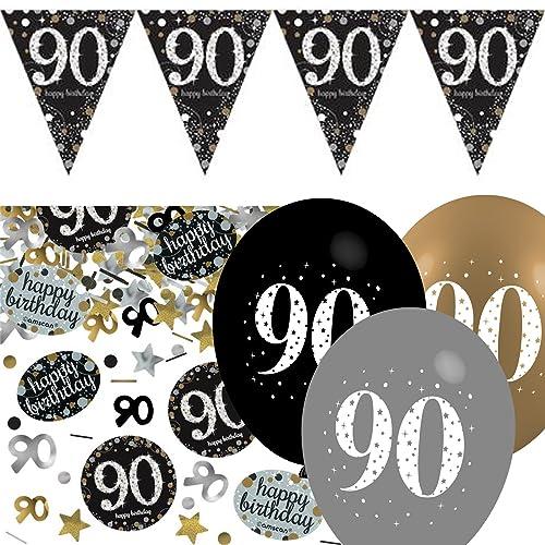 Black Silver Gold 90th Birthday Celebration Party Flag Banner Decoration Pack Kit Set