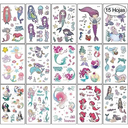VEGCOO 15 Hojas Tatuajes Temporales Pegatinas Para Niños Niñas Sirena Unicornio Dibujos Animados Falso Pegatinas de Tatuaje para Niños Infantiles Regalo de Fiesta de Cumpleaños (Style 1)