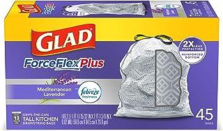 Glad ForceFlexPlus Tall Kitchen Drawstring Trash Bags -13 Gallon White Trash Bag, with Febreze Mediterranean Lavender - 45...