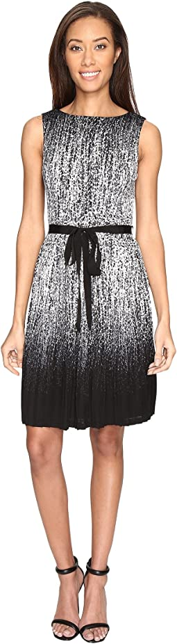 Printed Miami Mesh Fit and Flare Dress with Full Pleated Skirt