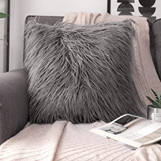 Phantoscope Decorative New Luxury Series Merino Style Grey Fur Throw Pillow Case Cushion Cover 18