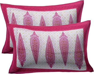 Aapno Rajasthan Pink Double Bedsheet with Pillow Cover