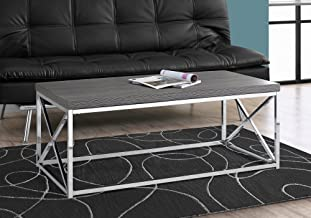 Monarch Specialties Modern Coffee Table for Living Room Center Table with Metal Frame, 44 Inch L, Grey/Chrome