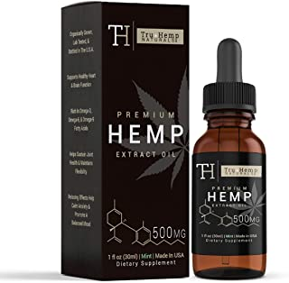 Tru Hemp Naturals: Organic Hemp Mint Flavored Vitamin Oil with Omega 3, 6, and 9 Fatty Acids for Pain and Anxiety Relief, Aids in Relaxation and Calming, NON-GMO (500 mg, 16.7mg/ Serving)