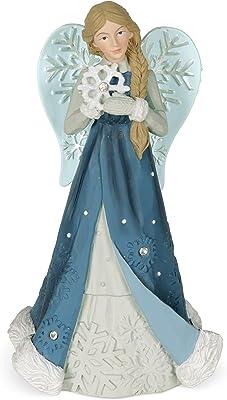 Angelstar Serenity Winter Angel Figurine, Light Blue