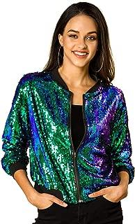 Allegra K Women's Sequin Sparkle Long Sleeve Zipper Bomber Jacket