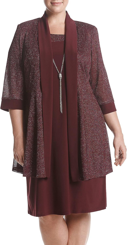 R&M Richards Women's Plus Size Jacket Dress, Merlot, 22W